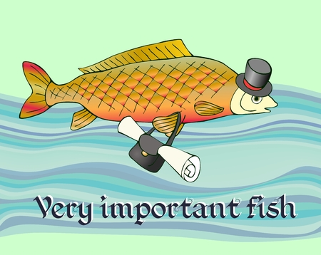 Very important fish with document in bag and in hat on head. Fun picture.