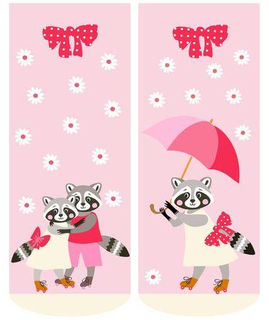 raccoons: Various socks with cute raccoons. Vector template. Anime style.