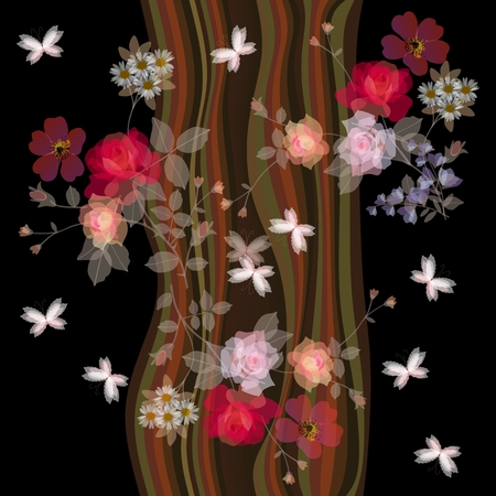 Seamless romantic pattern with bouquets of gardening flowers and butterflies on stylized tree trunk background.