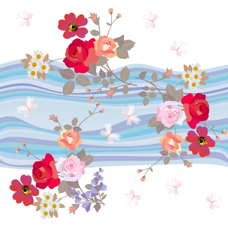 Seamless floral pattern with bouquets of gardening flowers on waves background.