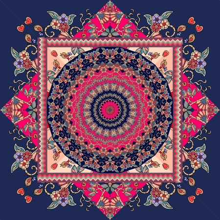 ul bandana  print with mandala - sun and ornamental frame.