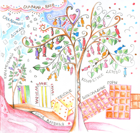 Sweet country. Candy tree, candy floss, sugar rain, caramel bush, marmalade rocks, cookies, chocolate mountains and sea of jam with inscriptions in Russian. Hand drawn picture by colored pencils. Stock Photo
