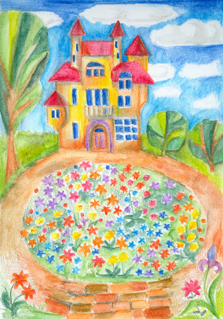 A house with a peaked roof and a wonderful flowerbed in front of it. Hand drawn picture.