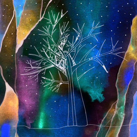 Polar lights with a tree and mountain in the foreground. Hand drawn picture.