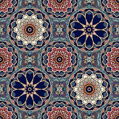 Seamless geometric pattern with stylized lotus and flowers mandalas.