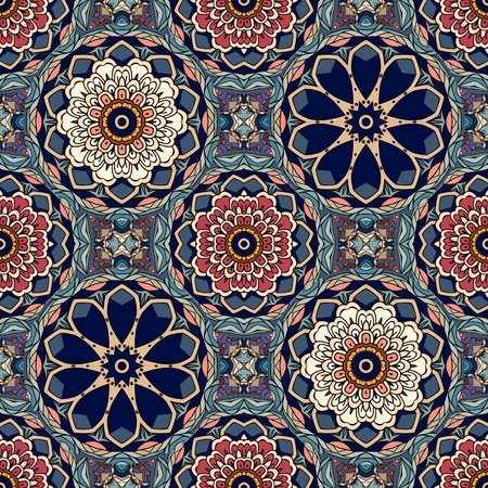 Seamless geometric pattern with stylized lotus and flowers mandalas.