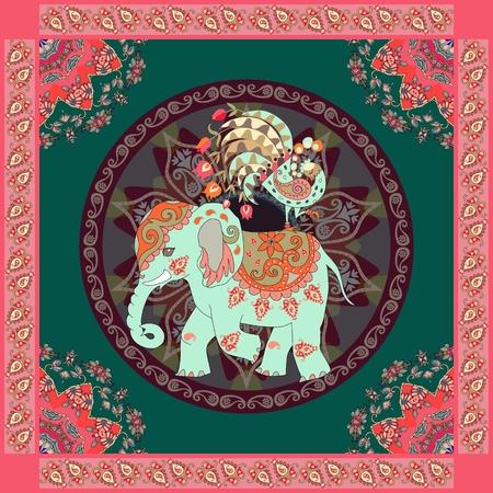 Invitation, vintage greeting card, pillowcase or ethnic bandana print with cute elephant, peacock, mandala and  paisley border. Beautiful vector illustration in indian, thai style.