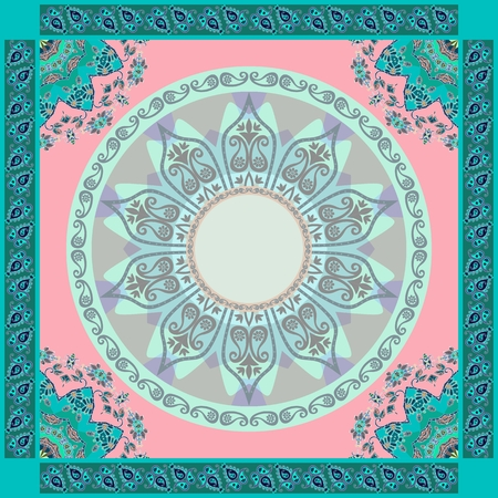 Ethnic bandana print in pink and emerald tones. Mandalas and paisley frames. Indian, thai, persian, turkish motives. Beautiful vector illustration. Vettoriali
