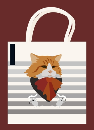 Eco bag with cat and mouses on striped background. Vector illustration.