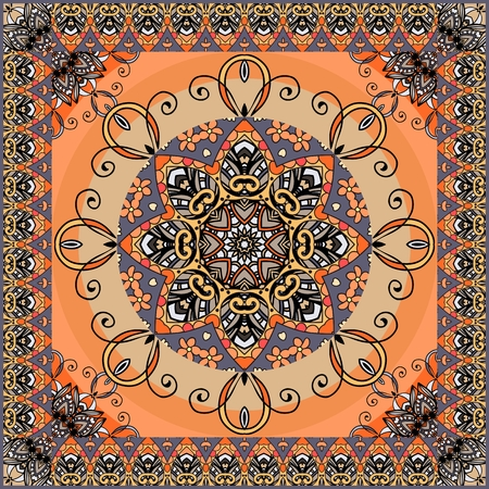 Ethnic square rug with flower mandala and zigzag ornamental frame. Shawl, lovely tablecloth, pillowcase. Russian, indian, persian motives.