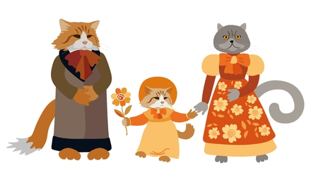 Beautiful card with family cats isolated on white background. Cute cartoon characters. Vector illustration.