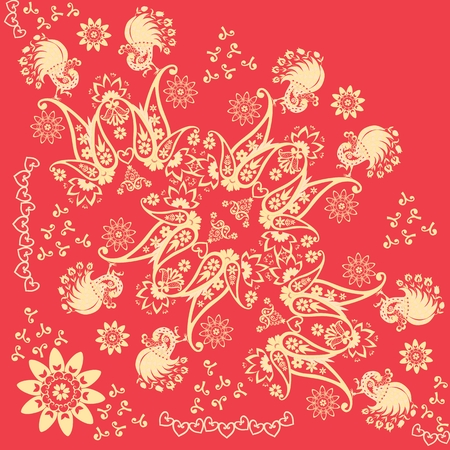 Red and gold khokhloma ornamental quarter of shawl. Russian, indian motives. Beautiful vector illustration with abstract flowers, fairy birds and paisley.