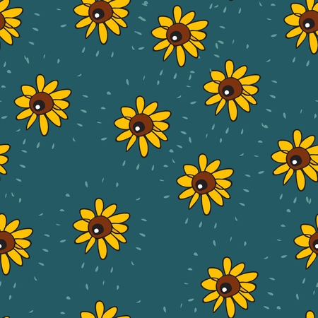 Seamless background of funny sunflowers similar to eyes. Vector summer design. Illustration