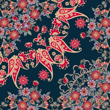 Quarter of the ethnic russian bandana print with floral border. Silk neck scarf with beautiful bouquets and paisley. Summer kerchief square pattern. Vector illustration. Ilustracja