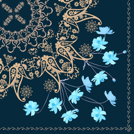 Quarter shawl with paisley ornament and blue cosmos flowers. Indian, russian motives. Vecotr summer design.
