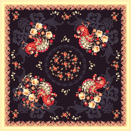 Folk shawl with fairy peacock, garden flowers and paisley on dark background in russian style. Beautiful vector illustration.