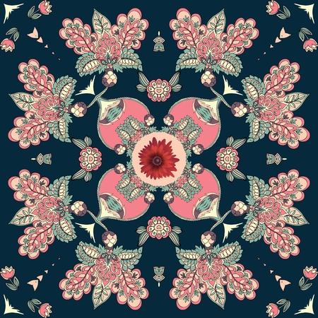 민족 스타일에 추상적 인 꽃으로 두건 인쇄. 아름 다운 벡터 일러스트 레이 션.