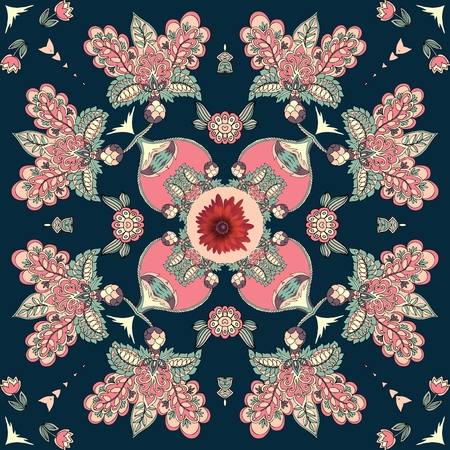 Bandana print with abstract flowers in ethnic style. Beautiful vector illustration. Illustration