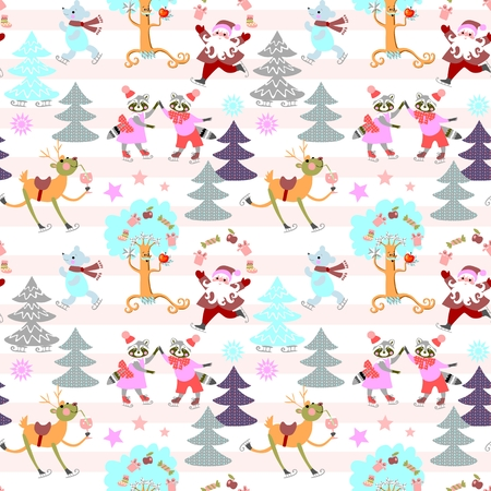 Seamless striped Christmas pattern with winter forest, cute cartoon animals and Santa Claus. Vector illustration. Illustration