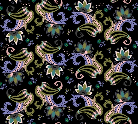 Exotic seamless buta pattern with little flowers on black background. Vector illustration. Ethnic print for fabric.