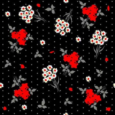 Seamless floral pattern with bunch of daisy flowers and bouquets of red roses on black polka dot background. Vector summer design.