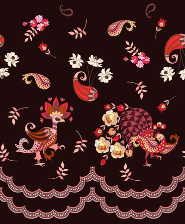 Romantic endless pattern with magic birds, paisley, flowers and leaves on dark brown background. Mexican, indian, thai motives. Vector summer design. Illustration