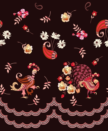 Unique endless border with birds in vintage style, paisley and flowers isolated on dark brown background. Vector illustration. Print for fabric. Illustration
