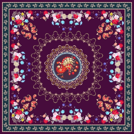 Festive tablecloth or vintage shawl with magical peacock, floral and paisley ornament, decorative border. Indian, persian, turkish, russian motives.