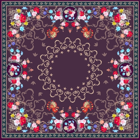 Unique bandana print or beautiful carpet  with floral ornament and peacocks. Indian, persian, russian motives. Stock Photo - 94532615