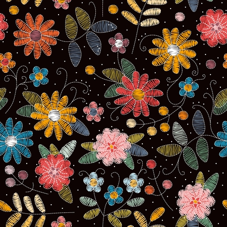 Embroidery seamless pattern. Beautiful summer flowers. Decorative floral ornament.  Bright colorful elements on black background. Stylish design for fabrics and textile.