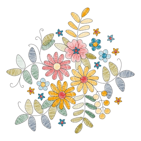 Embroidery design with beautiful flowers and leaves on white background vector illustration.