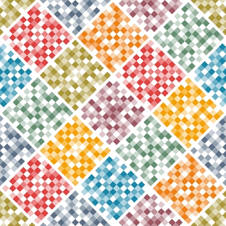 Mosaic seamless pattern from colorful squares. Patchwork design. Multicolor vector illustration. Illustration