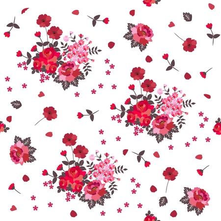 Handwork pattern ukrainian list buds of big flowers on branches red and pink flowers isolated on white background vector mightylinksfo Image collections