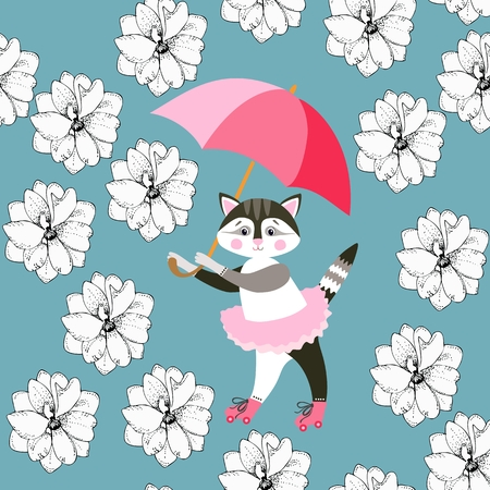 Seamless pattern with cute kitty, pink umbrella and delphinium flowers on blue background.