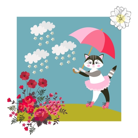 Cute kitty with pink umbrella. Greeting card, baby shower invitation, vector summer design.