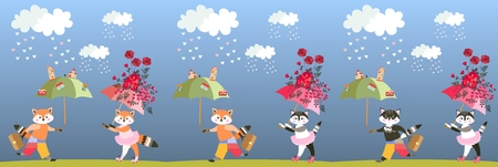 Lovely small foxes and kittens with fairy umbrellas. Endless border. Print for fabric. Vector summer design.