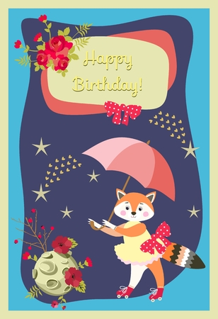 Happy birthday greeting card with lovely little fox, umbrella, moon, stars, comets and flowers on dark blue background. Vector illustration for baby.