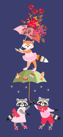 Cute cartoon little raccoons and fox with fairy umbrellas isolated on dark blue background.  Greeting card, invitation for baby. Beautiful vector illustration. Illustration