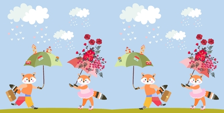 Greeting card with cute cartoon little foxes with fairy umbrellas or endless animal print. Vector summer pattern for children.