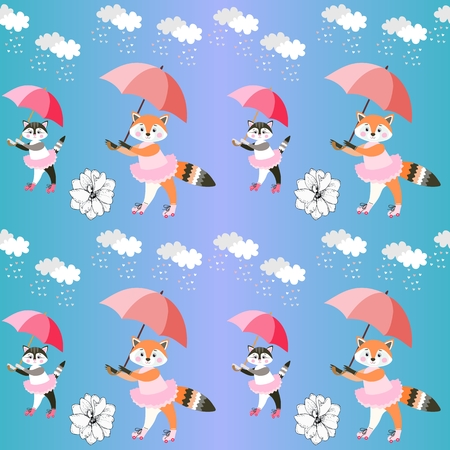 Endless background with cute little foxes and kittens with umbrellas on gradient blue background. Vector summer design.