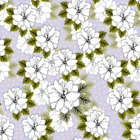 Delphinium floral pattern, delicate flower wallpaper, print for fabric, seamless vector background.
