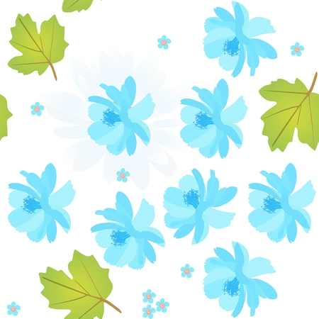 Blue flower in white illustration Illustration