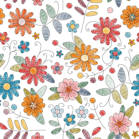 Embroidery seamless pattern with bright colorful flowers on white background. Vector illustration.