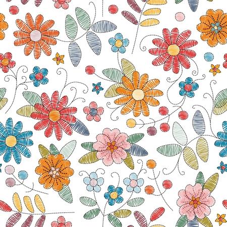 seamless pattern de broderie avec des fleurs colorées vives sur fond blanc. illustration vectorielle