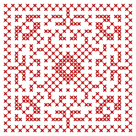 Cross stitch geometric pattern. Embroidered ethnic ornament. Vector illustration. Vectores