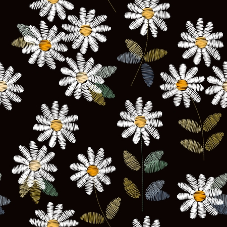 Embroidery seamless pattern with white daisies on black background. Vector illustration.