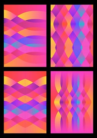 Set of four bright multicolored undulating patterns. Gradient vector illustration. Illustration