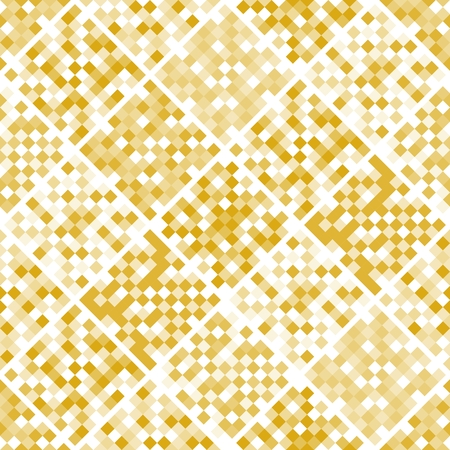 Gold mosaic seamless pattern from squares. Patchwork design. Vector illustration.