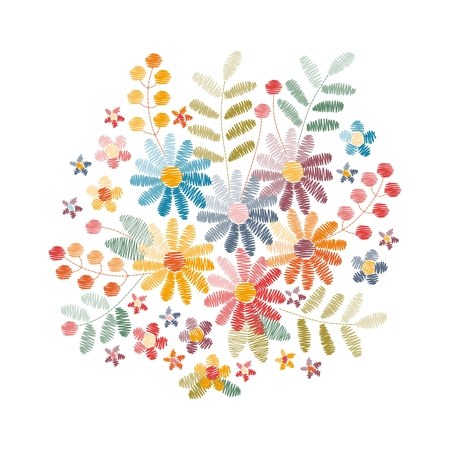 Embroidery design with beautiful flowers, leaves and berries. Colorful bouquet on white background.