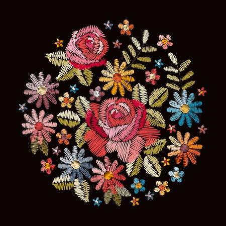 Modello del cerchio del ricamo con bellissimi fiori. Mazzo colorato su sfondo nero. Illustrazione vettoriale floreale.